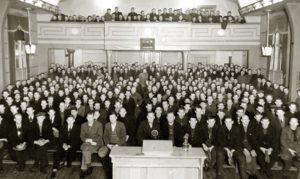 Fra møtet som Romerike faglige Samorganisasjon arrangerte i Folkets Hus 16. januar 1935. foto. ARBEIDERBEVEGELSES ARKIV OG BIBLIOTEK